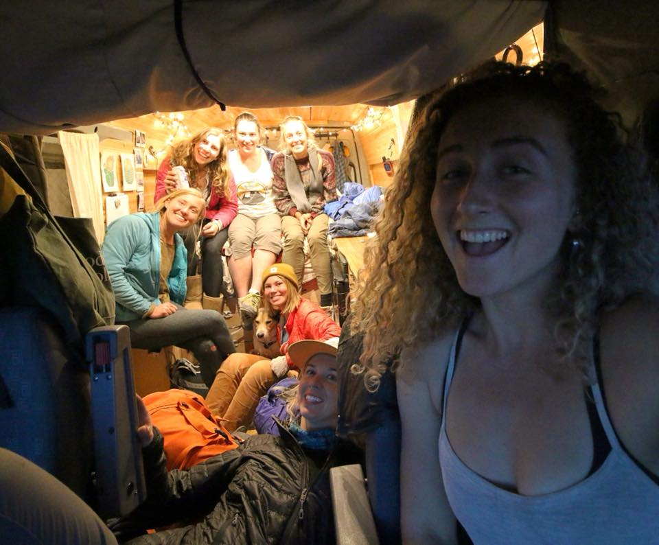 Inside Kaya Lindsay's van with 7 other female climbers