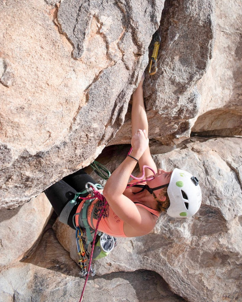 Kaya Lindsay leading Rollerball (5.10) in Joshua Tree National Park