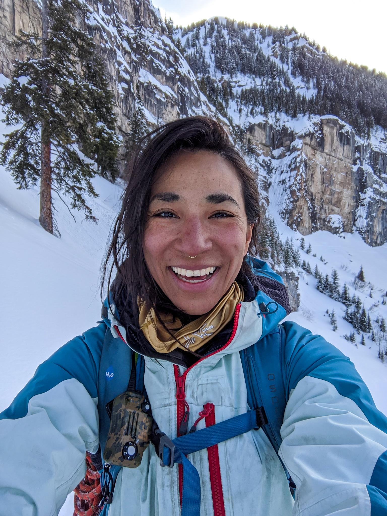 Woma-takes-selfie-backcountry-splitboarding