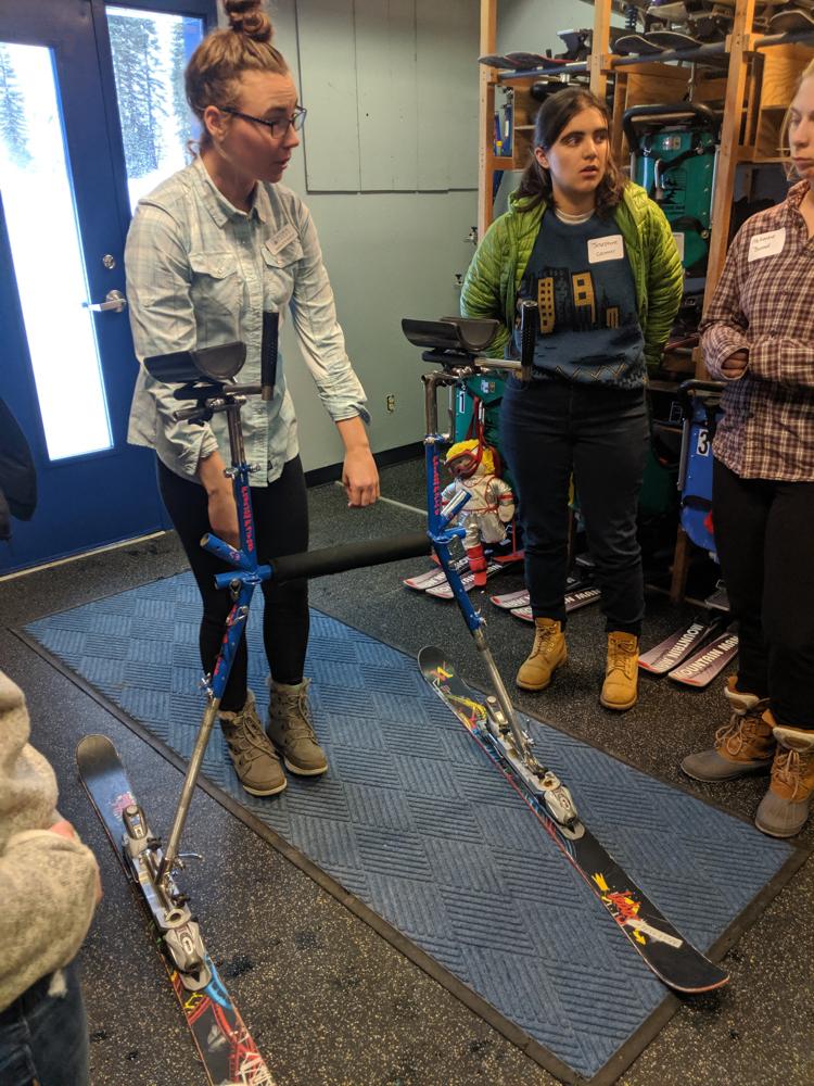 Achieve Tahoe Adaptive Sports Staff Demonstrate How to Use a Slider Adaptive Ski